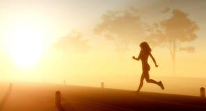 The girl runs. Stock Image