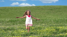 Girl Runs Across the Field stock video footage