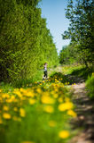Girl runs along the forest road, which grow dandelions Royalty Free Stock Photography