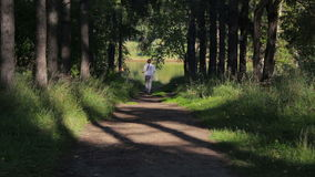 Girl runs along a shady forest green alley. Young woman jogging in the park. Active girl runs along a shady forest green alley. Young woman with a braid jogging stock video footage