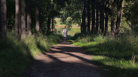 Girl runs along a shady forest green alley. Young woman jogging in the park. Active girl in sunglasses runs along a shady forest green alley. Young woman jogging stock video footage
