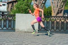 Girl runs along the waterfront Royalty Free Stock Photos