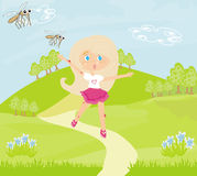 Girl runs away from mosquitoes Royalty Free Stock Photos