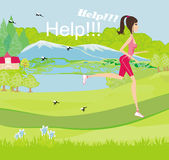 Girl runs away from mosquitoes. Illustration Stock Photo