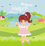 Girl runs away from mosquitoes Royalty Free Stock Photography