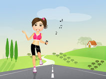 Girl runs in the countryside Royalty Free Stock Photos