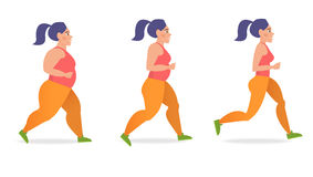 Girl runs. Healthy. Girl runs. A healthy way of life. Stage from thick to thin. Cartoon character. Vector  illustration Stock Image