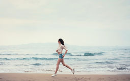 Girl runs morning Royalty Free Stock Photos