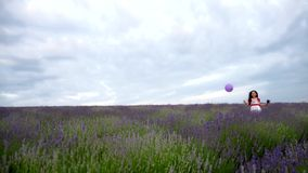The girl runs with a purple ball in a field of stock video footage