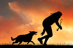 Girl runs at sunset with dog. Illustration of girl runs at sunset with dog Royalty Free Stock Photos