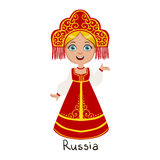 Girl In Russia Country National Clothes, Wearing Sarafan And Headdress Traditional For The Nation Royalty Free Stock Photo