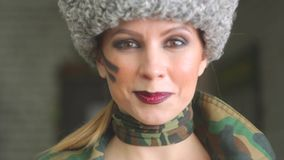 Girl in Russian army uniform stock video footage