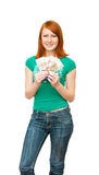 The girl with the Russian denominations. In one hundred roubles Stock Photos