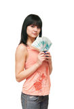 The girl with the Russian denominations. In one thousand roubles Stock Images
