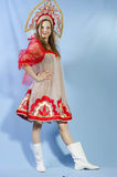Girl in Russian-folk costume Royalty Free Stock Images