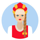 Girl in Russian folk dress sarafan. Flat icon. Vector clip-art illustration on a white background. Stock Photos