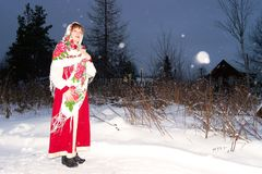 Girl in Russian national costume Stock Images