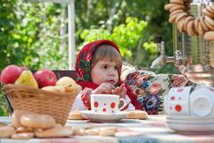 Girl in Russian national dress Royalty Free Stock Photo