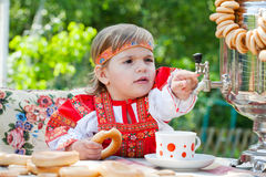 Girl in Russian national dress Stock Photos