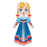 The girl in the Russian national suit. Historical clothes Royalty Free Stock Images