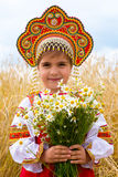 Girl in the Russian national sundress Royalty Free Stock Photography