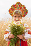 Girl in the Russian national sundress Stock Photos