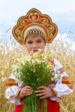 Girl in the Russian national sundress Stock Photography