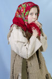 Girl in Russian shawl Stock Photos