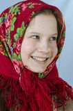 Girl in Russian shawl Stock Photo