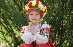 Girl in russian traditional folk clothes. Happy girl in russian traditional folk clothes Stock Photography