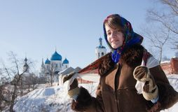 Girl in russian traditional kerchief Royalty Free Stock Image