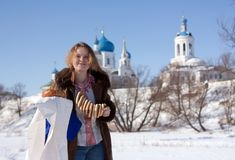 Girl in russian traditional kerchief Stock Images