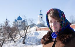 Girl in russian traditional kerchief Royalty Free Stock Photography