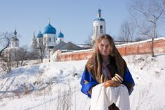 Girl in russian traditional with loaf Royalty Free Stock Photography