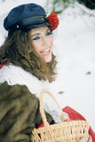 Girl in russian traditonal clothing for maslenitsa Royalty Free Stock Photo