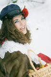 Girl in russian traditonal clothing for maslenitsa Stock Images