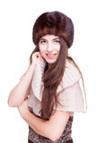 Girl with russian type winter hat Royalty Free Stock Photography