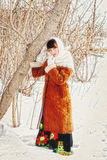 Girl in a Russian village. Royalty Free Stock Image