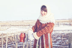 Girl in a Russian village. Stock Photography