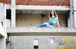 Girl in rusty building Royalty Free Stock Photography