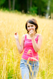Girl in rye field Stock Photography