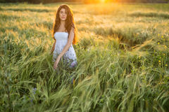 Girl in rye field Royalty Free Stock Photography