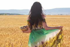 Girl in rye field with basket of buns and rolls Royalty Free Stock Image
