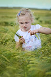 Girl in a rye field Royalty Free Stock Photos