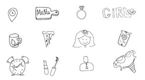 Girl`s accessories. Girl signs and symbols. Hand drawn doodle vector set for girls. Modern princess icons. Girlish set. Isolated. Vector objects vector illustration