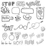 Girl`s accessories. Girl signs and symbols. Hand drawn doodle vector set for girls. Modern princess icons. Girlish set. Isolated. Vector objects stock illustration