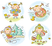 Girl's activities during the four seasons Stock Image