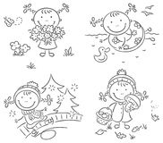 Girl's activities during the four seasons. Little girl's activities during the four seasons Royalty Free Stock Photo