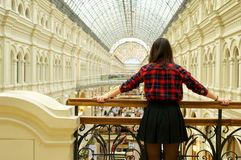 Girl's back. Girl looking forward, view from the back royalty free stock photos