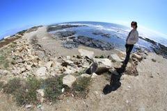 Girl and S. Bartolomeu do Mar Royalty Free Stock Image
